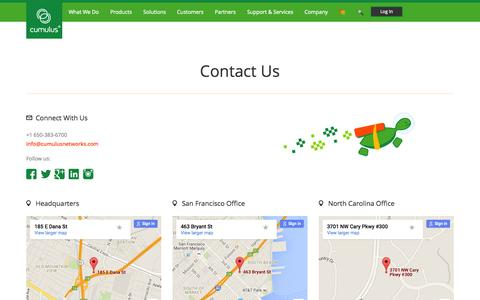 Screenshot of Contact Page cumulusnetworks.com - Cumulus Networks | Contact Us - captured Nov. 4, 2015
