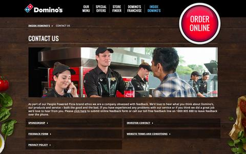 Screenshot of Contact Page dominos.com.au - Corporate Contact Details - Domino's Pizza - captured Jan. 13, 2016