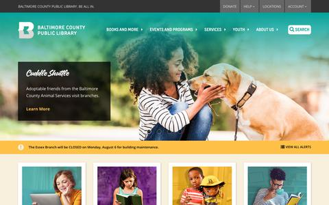 Screenshot of Home Page bcpl.info - Baltimore County Public Library Home - captured July 31, 2018