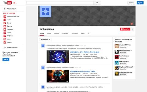 Screenshot of YouTube Page youtube.com - funkoigames  - YouTube - captured Oct. 25, 2014