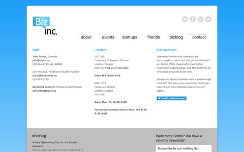 Screenshot of Contact Page bizinc.ca - contact - BizInc - BizInc - captured June 1, 2017