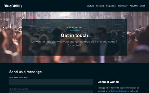 Screenshot of Contact Page bluechilli.com - Get in touch | BlueChilli - captured Sept. 8, 2017