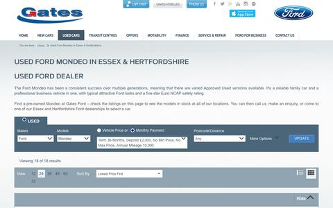 Screenshot of gates.co.uk - Used Ford Mondeo in Essex, London & Hertfordshire | Gates - captured April 24, 2016