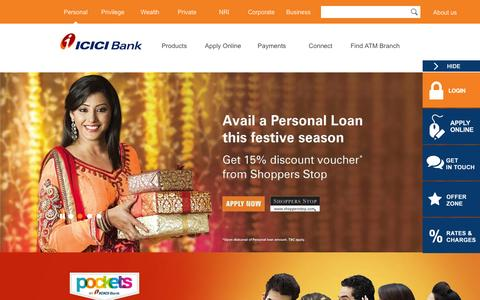 Screenshot of Home Page icicibank.com - Personal Banking, Online Banking Services - ICICI Bank - captured Dec. 4, 2015