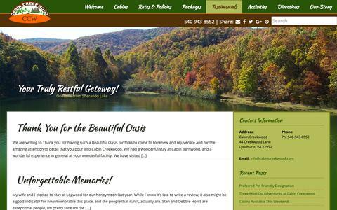 Screenshot of Testimonials Page cabincreekwood.com - Testimonials Archives - Cabin Creekwood - captured Sept. 26, 2018