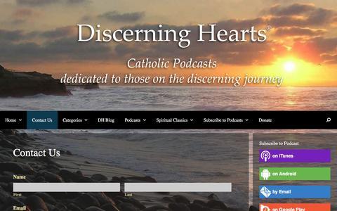 Screenshot of Contact Page discerninghearts.com - Contact Us - captured Jan. 30, 2017