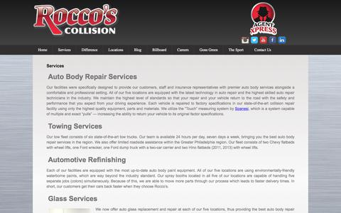 Screenshot of Services Page roccoscollision.com - Auto body services | Rocco's Collision - captured Oct. 22, 2017