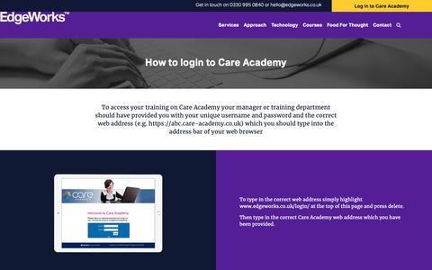 Screenshot of Login Page edgeworks.co.uk - EdgeWorks™ Care Academy • How to Log In - captured Sept. 27, 2018