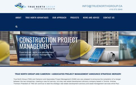Screenshot of Home Page truenorthgroup.ca - True North Group | Commercial Real Estate Development – True North Group offers a full range of development and investment management services for real estate projects. - captured Nov. 14, 2017