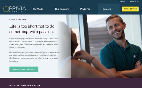 Screenshot of Jobs Page priviahealth.com - Work@Privia - Privia Health - captured Aug. 19, 2019