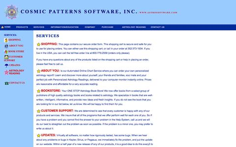 Screenshot of Services Page astrosoftware.com - COSMIC SERVICES - captured Sept. 19, 2014