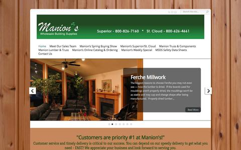 Screenshot of Home Page manionswholesale.com - Manion's Wholesale Building Supplies | - captured June 19, 2015
