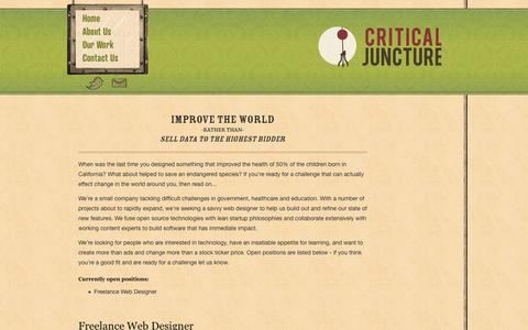 Screenshot of Jobs Page criticaljuncture.org - Critical Juncture :: Improve the World - captured Oct. 27, 2014