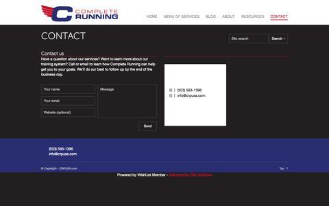 Screenshot of Contact Page crpusa.com - CONTACT | CRPUSA - Complete Running - captured Oct. 2, 2014