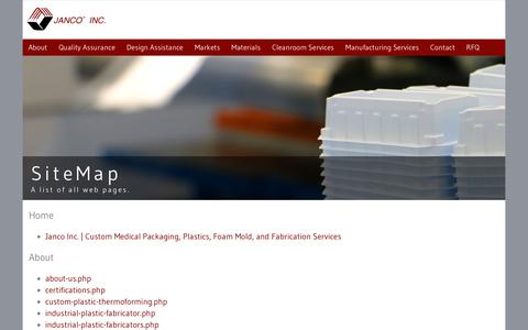Screenshot of Site Map Page janco-inc.com - A provider of short and long run plastic and foam manufacturing - captured June 8, 2017