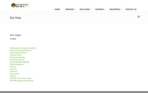 Screenshot of Site Map Page metapercept.com - Metapercept Technology Services(LLP) - captured Nov. 28, 2016