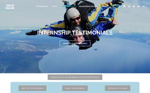 Screenshot of Testimonials Page internnzoz.com - Internship Testimonials - Intern NZ & Intern OZ - captured Oct. 12, 2018