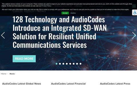 Screenshot of Press Page audiocodes.com - News - captured July 19, 2019
