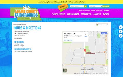 Screenshot of Maps & Directions Page adamscountyfairgrounds.com - Hours & Directions - captured April 25, 2017