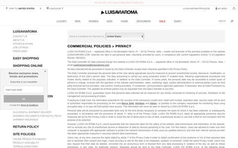 Screenshot of Privacy Page luisaviaroma.com - Contact us - LUISAVIAROMA - captured May 6, 2017