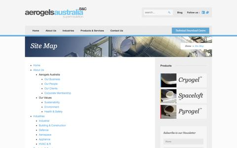 Screenshot of Site Map Page aerogel.com.au - Site Map - captured Oct. 4, 2014