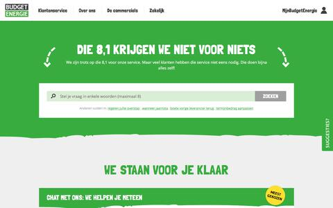 Screenshot of Contact Page budgetenergie.nl - Neem contact met ons op | Budget Energie - captured July 31, 2018