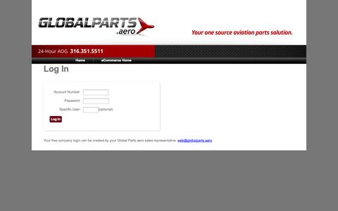 Screenshot of Login Page globalparts.aero - Pentagon E-Commerce Portal - captured Oct. 2, 2014
