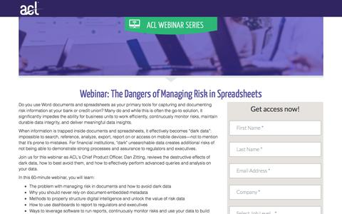 Screenshot of Landing Page acl.com - The Dangers of Managing Risk in Spreadsheets - captured April 20, 2018