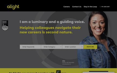 Screenshot of Jobs Page alight.com - Careers at Alight | Alight job opportunities - captured July 19, 2019