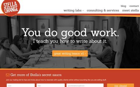 Screenshot of Home Page stellaorange.com - Stella Orange Wordsmith | Just another WordPress site - captured Oct. 20, 2015