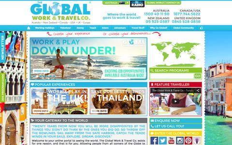 Screenshot of Home Page globalworkandtravel.com - The Work & Travel Experts! | The Global Work & Travel Co. - captured Jan. 30, 2015
