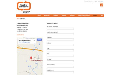Screenshot of Contact Page Maps & Directions Page gowithcd.com - Contact Us   Creative Dimensions - captured Oct. 22, 2014