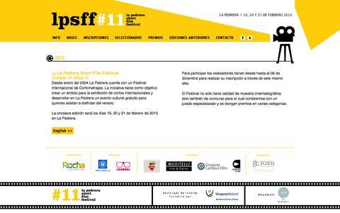 Screenshot of Home Page lapedrerashortfilmfestival.com - La Pedrera Short Film Festival - 19, 20 y 21 - Febrero / February - 2015 - captured Oct. 18, 2015