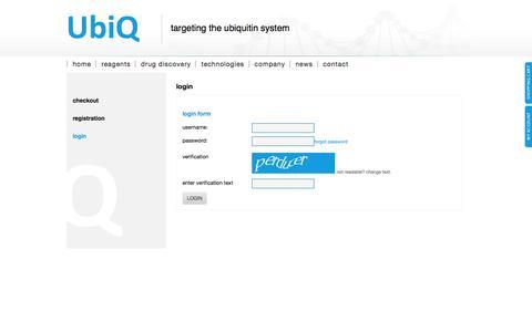 Screenshot of Login Page ubiqbio.com - UbiQ - captured Oct. 7, 2014