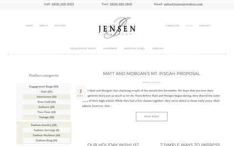 Screenshot of Blog jensenjewelers.com - Blog | #1 Engagement Ring Store | JensenJewelers.com - captured Dec. 10, 2018