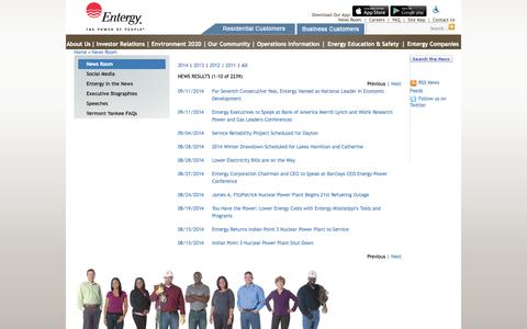 Screenshot of Press Page entergy.com - Entergy 			Corporate 			News Room - captured Sept. 19, 2014