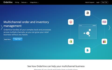 Screenshot of Home Page orderhive.com - Online Order And Inventory Management System, Software | Orderhive - captured Oct. 2, 2015