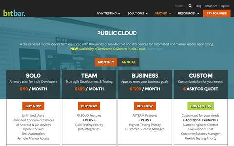 Screenshot of Pricing Page bitbar.com - Public Cloud Pricing at Bitbar Testing - captured Dec. 6, 2016