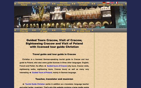 Screenshot of Home Page guide-cracow.com - Guide Cracow Guided Tours Cracow Visits Cracow Sightseeing Cracow - captured Sept. 26, 2015