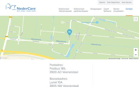 Screenshot of Contact Page nedercare.nl - Neem Contact Op - Nedercare - captured Sept. 24, 2018