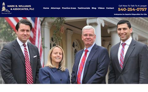 Screenshot of Home Page markbwilliams.com - Virgina Lawyers   Mark B. Williams and Associates - captured Oct. 16, 2018