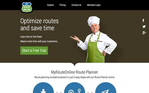 Screenshot of Home Page myrouteonline.com - Route Planner - Route planning multiple locations | MyRouteOnline - captured Jan. 22, 2015