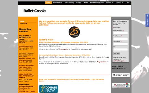 Screenshot of Home Page balletcreole.org - HOME | Ballet Creole - captured Sept. 30, 2014
