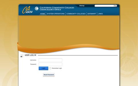 Screenshot of Login Page cccco.edu - User Log In - captured Oct. 1, 2014
