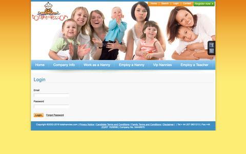 Screenshot of Login Page totalnannies.com - Registration - captured Oct. 20, 2018