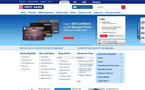 Screenshot of Home Page hdfcbank.com - HDFC Bank: Personal Banking Services - captured Sept. 19, 2014