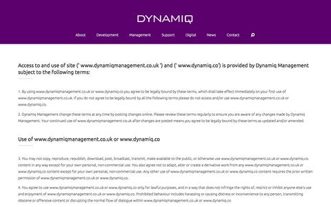 Screenshot of Terms Page dynamiqmanagement.co.uk - Terms of Use - DYNAMIQ - captured Jan. 7, 2016