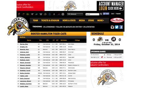 Screenshot of Team Page ticats.ca - Roster   Hamilton Tiger-Cats - captured Oct. 31, 2014