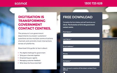Screenshot of Landing Page salmat.com.au - Salmat - The Evolution of CX in the government contact centre - captured Dec. 12, 2016