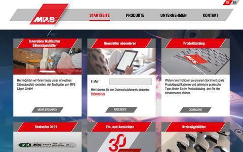 Screenshot of Home Page mps-saegen.de - MPS Sägen GmbH - Ihr Partner für Sägeblätter und Zubehör - captured Nov. 12, 2018
